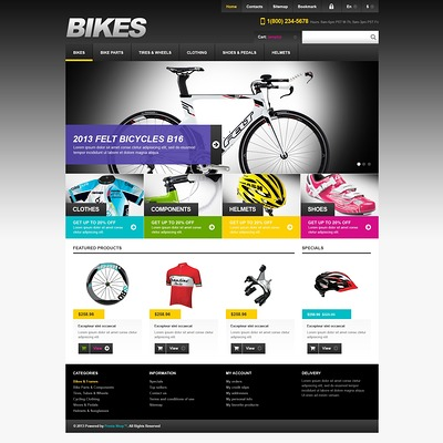 Responsive Bikes Store PrestaShop Theme (PrestaShop themes for bicycles and cycling equipment) Item Picture