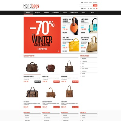Responsive Handbags Store PrestaShop Theme (PrestaShop theme for purses and handbags) Item Picture