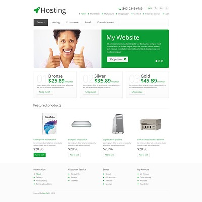 Responsive Hosting Store OpenCart Template (OpenCart theme for web hosting providers) Item Picture