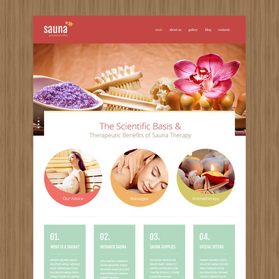 Sauna Joomla Template (Joomla template for spas and beauty salons) Item Picture