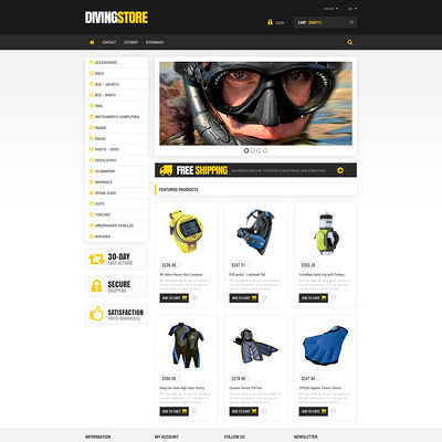 Scuba Diving Equipment PrestaShop Theme (PrestaShop theme for scuba diving stores) Item Picture