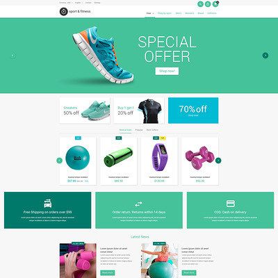 Sporting Goods PrestaShop Theme (PrestaShop theme for sports stores) Item Picture