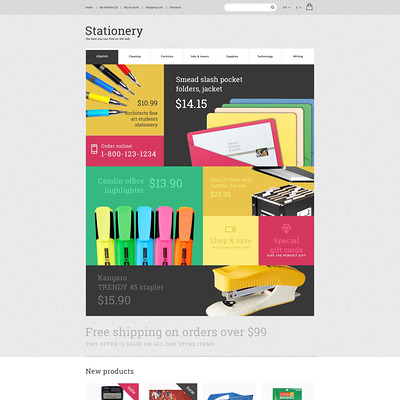Stationery OpenCart Template (OpenCart theme for stationery, business cards, and office supplies) Item Picture