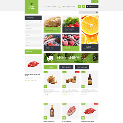 Supermarket Template PrestaShop Theme (PrestaShop theme for food stores) Item Picture