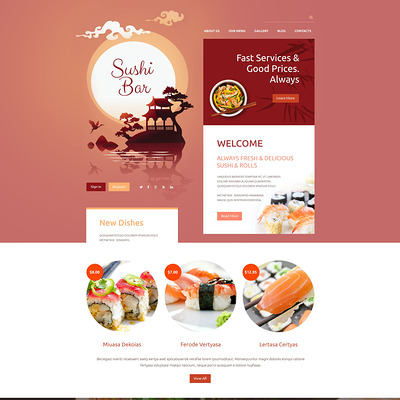 Sushi Bar Drupal Template (Drupal theme for restaurants) Item Picture