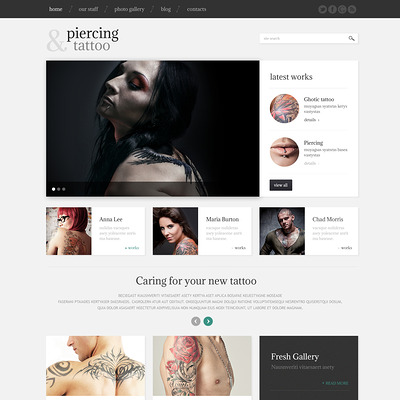 Tattoo Beauty Salon WordPress Theme (WordPress theme for tattoo studios) Item Picture