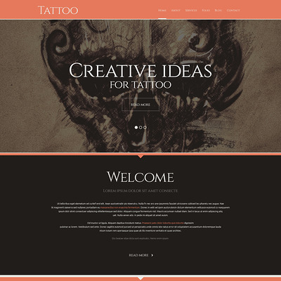 Tattoo Salon Responsive WordPress Theme (WordPress theme for tattoo studios) Item Picture