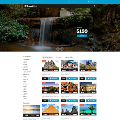 Thrilling Adventures PrestaShop Theme (PrestaShop theme for travel websites) Item Picture