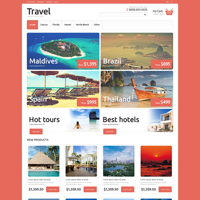 Travel Agency Responsive Magento Theme (Magento theme for travel sites) Item Picture