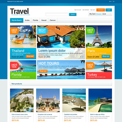 Travel Agency Store Magento Theme (Magento theme for travel sites) Item Picture
