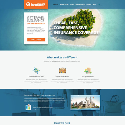 Travel Insurance Provider WordPress Theme (WordPress theme for insurance companies) Item Picture