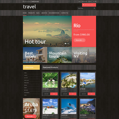 Traveling PrestaShop Theme (PrestaShop theme for travel websites) Item Picture