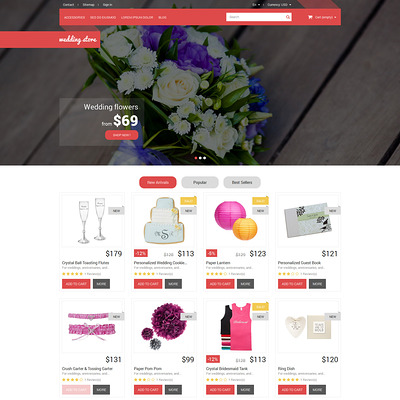 Wedding Day Essentials PrestaShop Theme (PrestaShop theme for wedding stores) Item Picture