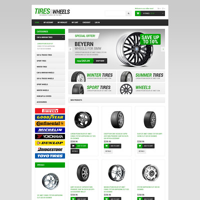 Wheels & Tires Responsive Magento Theme (Magento theme for car, automotive, and vehicle stores) Item Picture