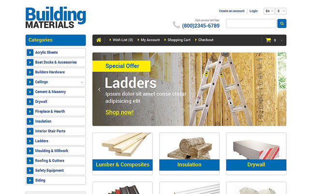 best opencart themes home improvement construction supply stores feature