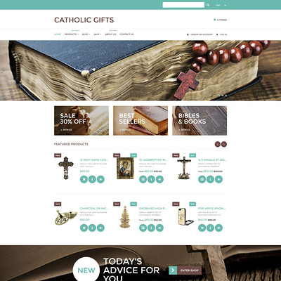 Catholic Church Responsive Shopify Theme (parallax Shopify theme) Item Picture