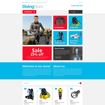 Diving Shop OpenCart Template (OpenCart theme for marine, yachting, fishing, and diving stores) Item Picture
