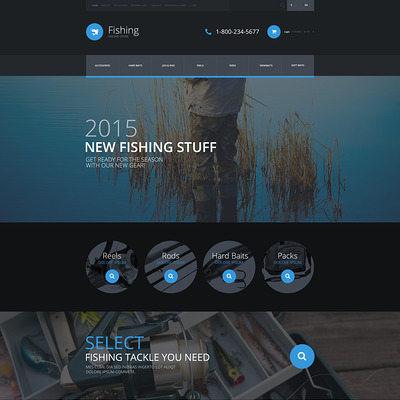 Fishing Equipment Store OpenCart Template (OpenCart theme for marine, yachting, fishing, and diving stores) Item Picture