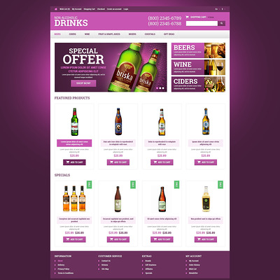 Food & Drink Responsive OpenCart Template (OpenCart theme for selling liquor, wine, and beer) Item Picture