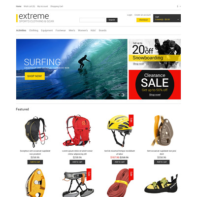 Gear for Extreme Hobbies OpenCart Template (OpenCart theme for sports, gym, and fitness stores) Item Picture