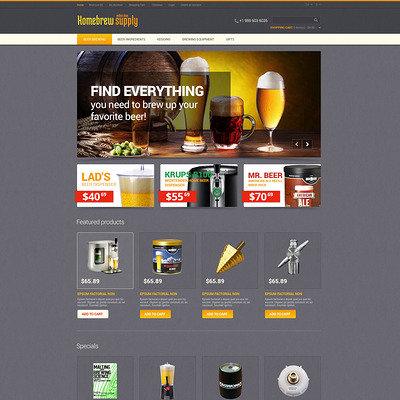 Homebrew Supply OpenCart Template (OpenCart theme for selling liquor, wine, and beer) Item Picture