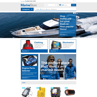 Marine Store OpenCart Template (OpenCart theme for marine, yachting, fishing, and diving stores) Item Picture
