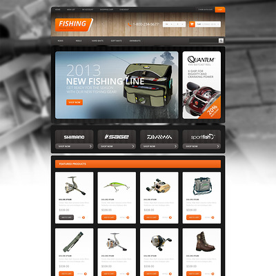 Responsive Fishing Store OpenCart Template (OpenCart theme for marine, yachting, fishing, and diving stores) Item Picture