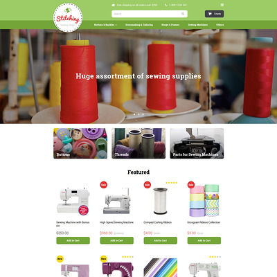 Sewing Store OpenCart Template (OpenCart theme for sewing and craft stores) Item Picture