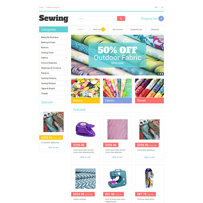 Sewing Tools OpenCart Template (OpenCart theme for sewing and craft stores) Item Picture