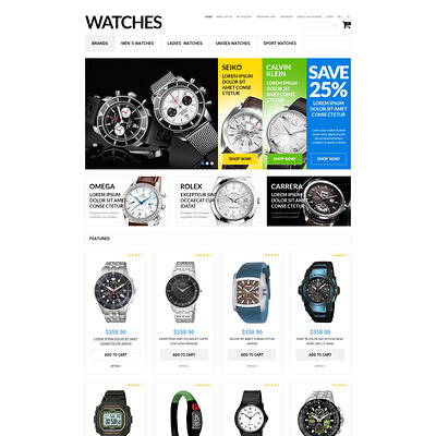 Watches Assortment OpenCart Template (OpenCart theme for selling jewelry and watches) Item Picture