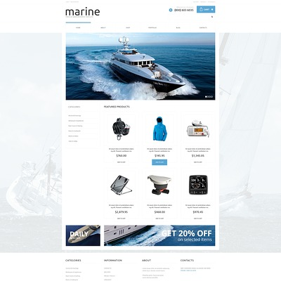 Yachting Responsive WooCommerce Theme (WooCommerce theme for marine, yachting, diving, and fishing stores) Item Picture