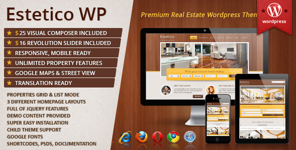 Estetico Premium Real Estate WP Theme (real-estate WordPress theme) Item Picture