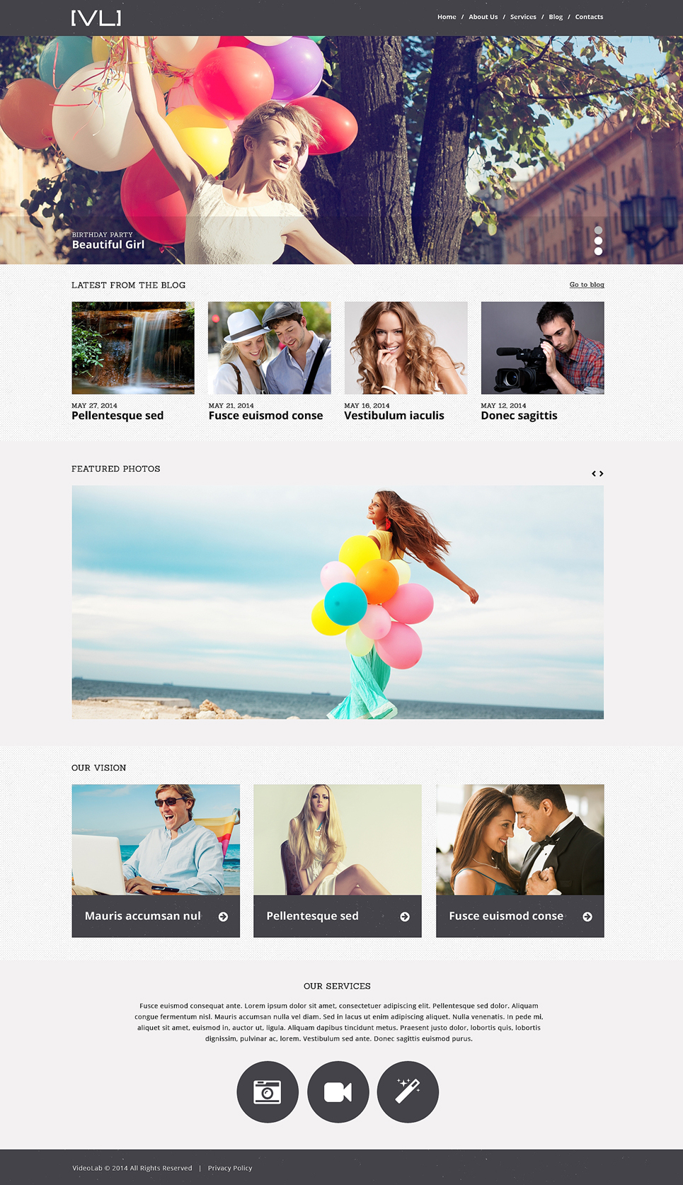 Happy Moments Videography WordPress Theme (WordPress theme for photographers) Item Picture