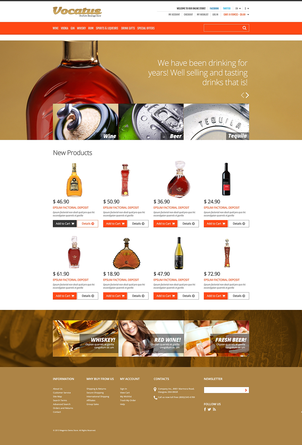 Alcohol for Your Party Magento Theme (website template for ecommerce) Item Picture