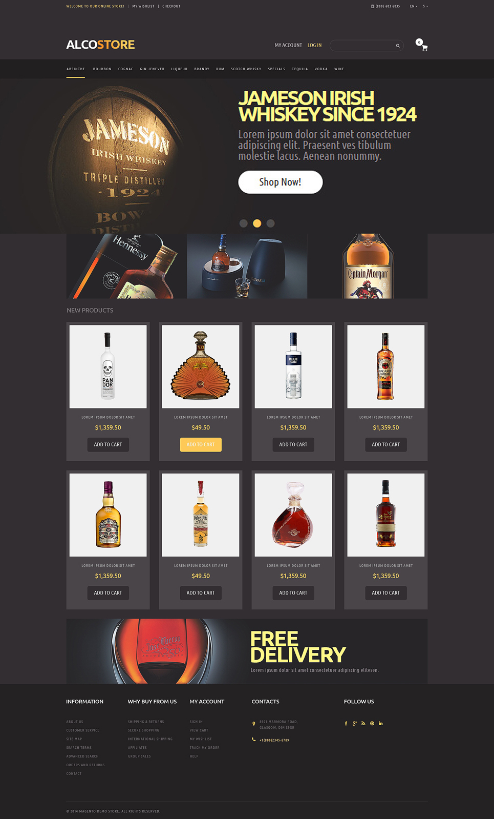 Alcoholic Beverages Magento Theme (website template for ecommerce) Item Picture
