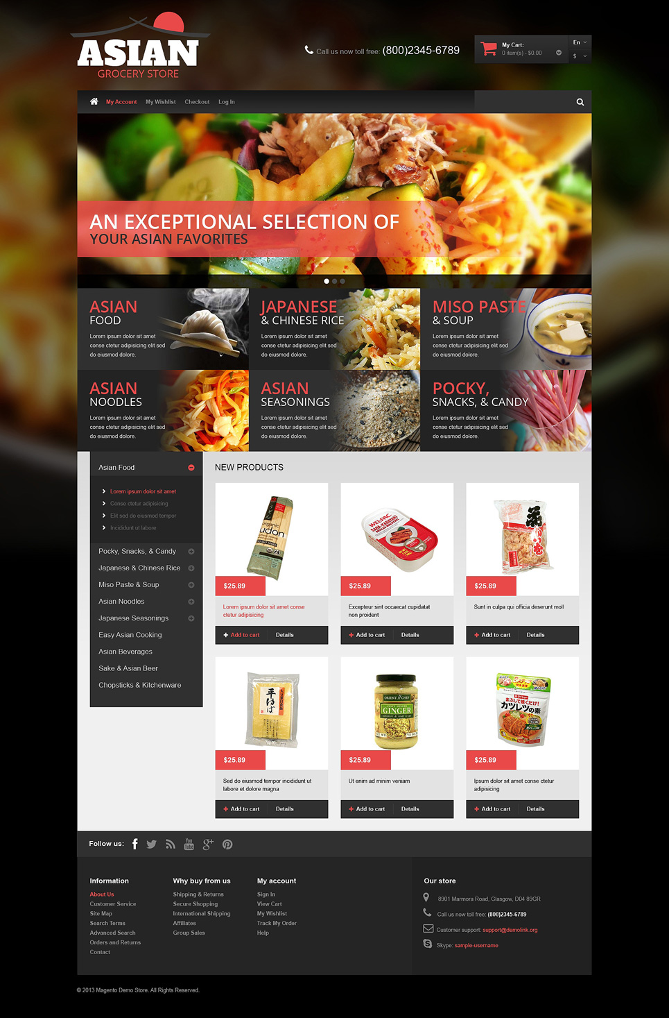 Asian Grocery Magento Theme (website template for ecommerce) Item Picture