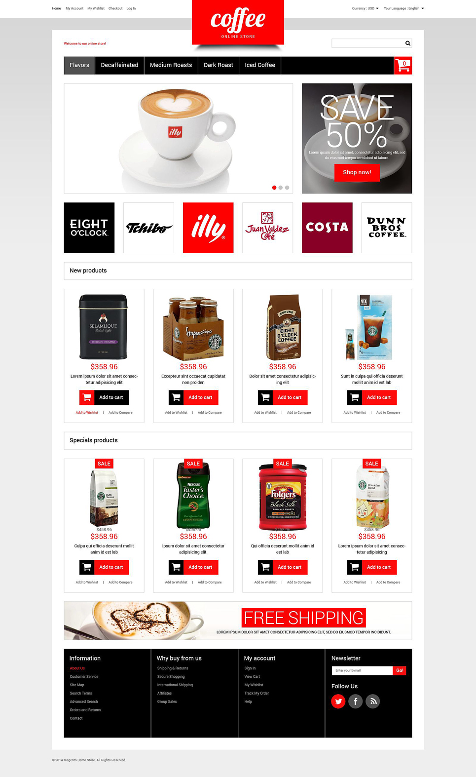 Coffee Store Magento Theme (website template for ecommerce) Item Picture