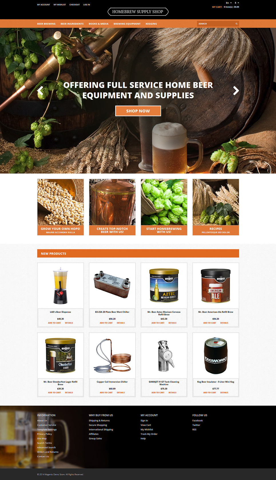 Pro Beer Brewing Magento Theme (website template for ecommerce) Item Picture