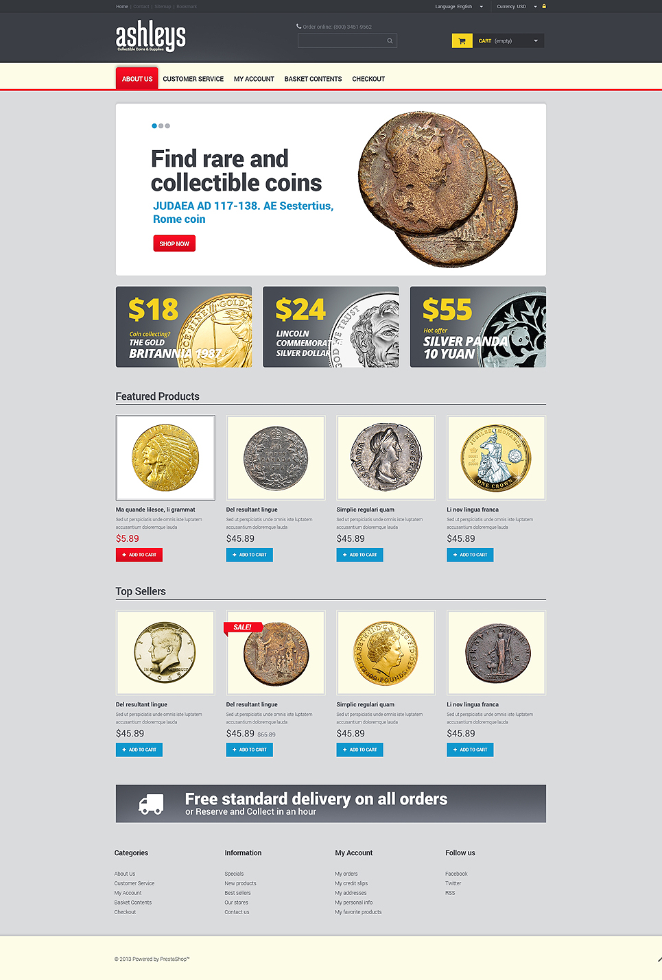 Ashleys Coin Shop (PrestaShop template) Item Picture