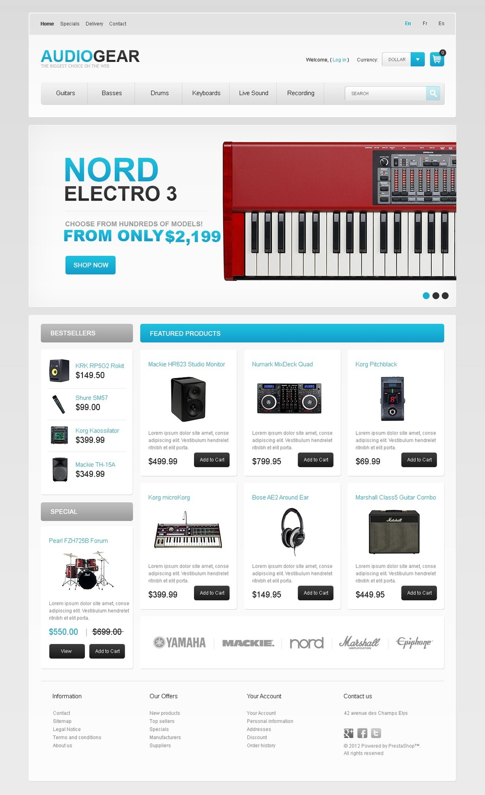 Audio Store PrestaShop Theme