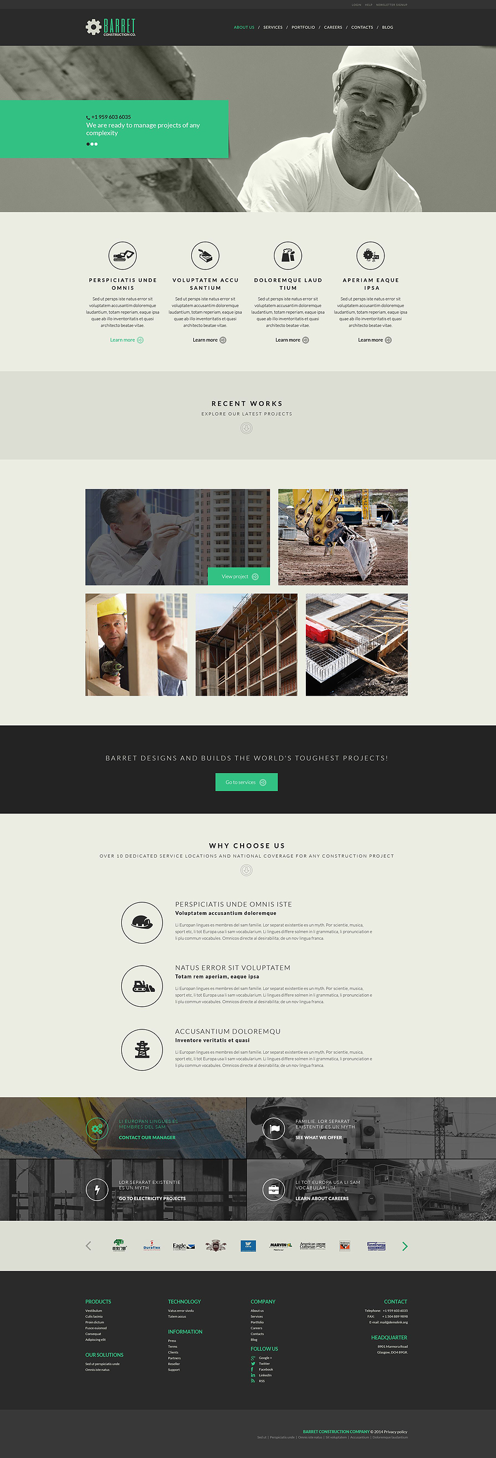 Construction Company WordPress Theme (WordPress theme for the construction industry) Item Picture