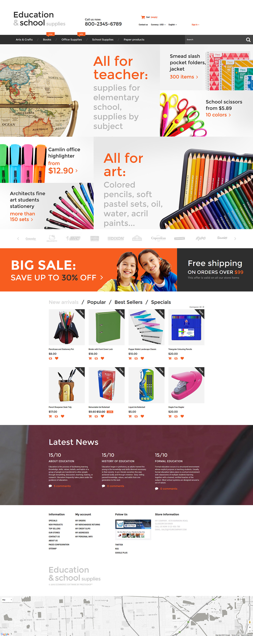Education School Supplies PrestaShop Theme (theme for PrestaShop) Item Picture
