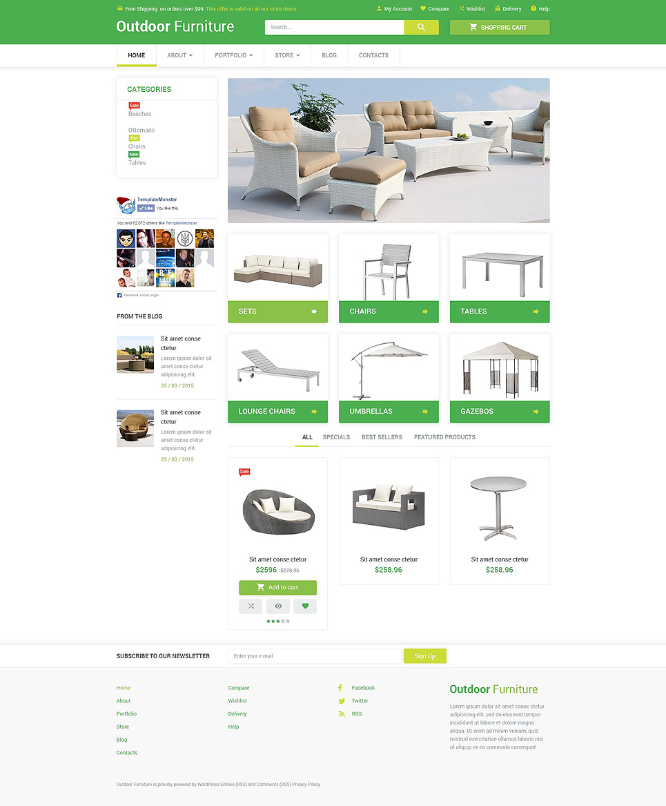 Outdoor Comfort WooCommerce Theme (WordPress theme for furniture stores) Item Picture