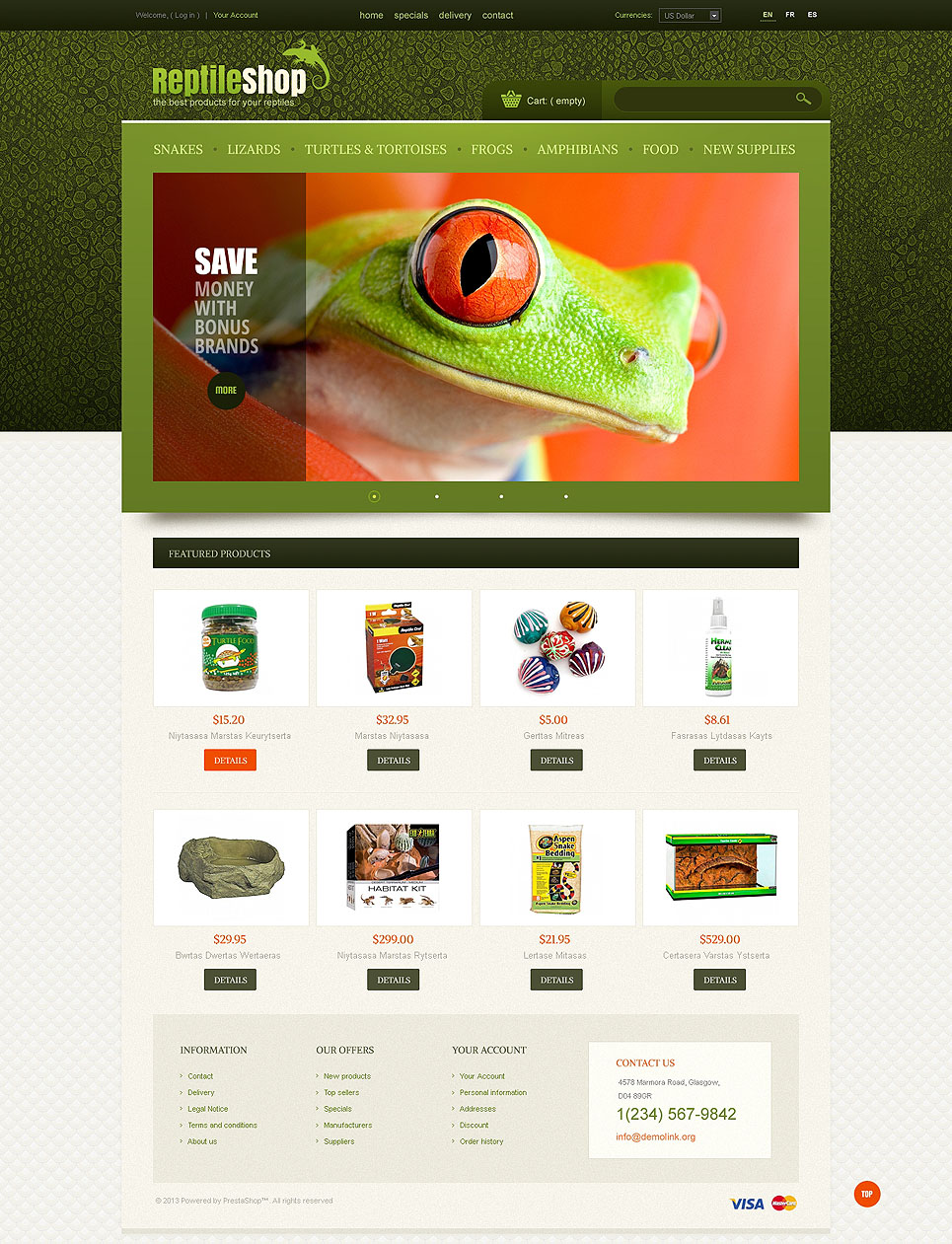 Reptile Shop (PrestaShop template) Item Picture