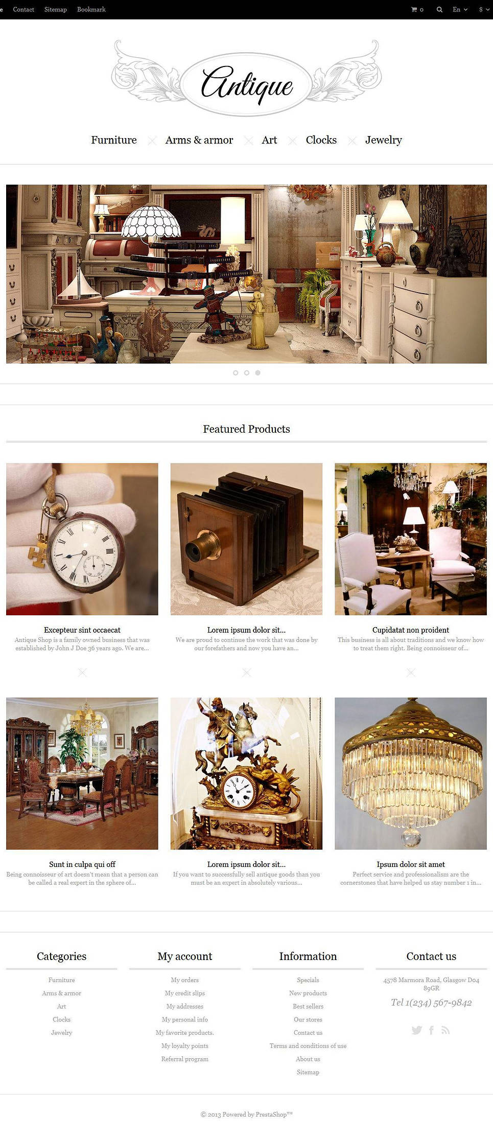 Responsive Antiques Store (template for PrestaShop) Item Picture