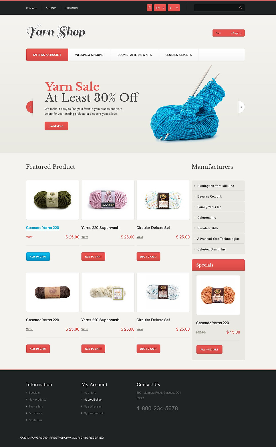 Responsive Yarn Shop (ecommerce theme for PrestaShop) Item Picture