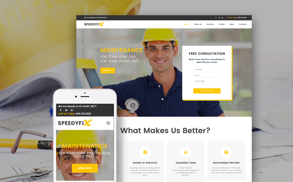 SpeedyFix (handyman WordPress theme) Item Picture
