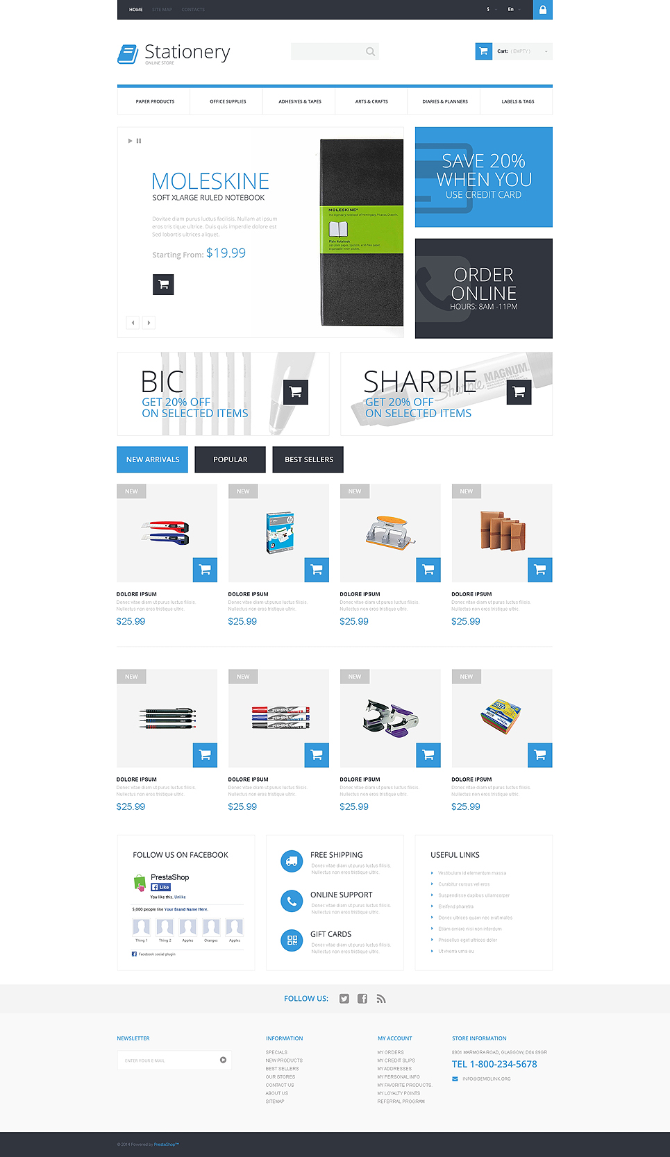 Stationery Store PrestaShop Theme (theme for PrestaShop) Item Picture