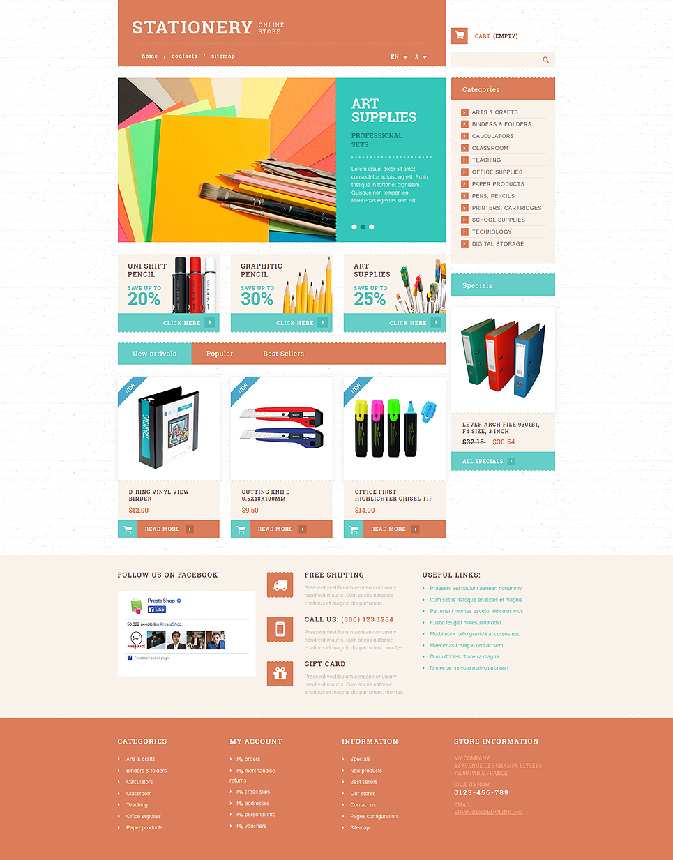 Stationery and Paper PrestaShop Theme (theme for PrestaShop) Item Picture