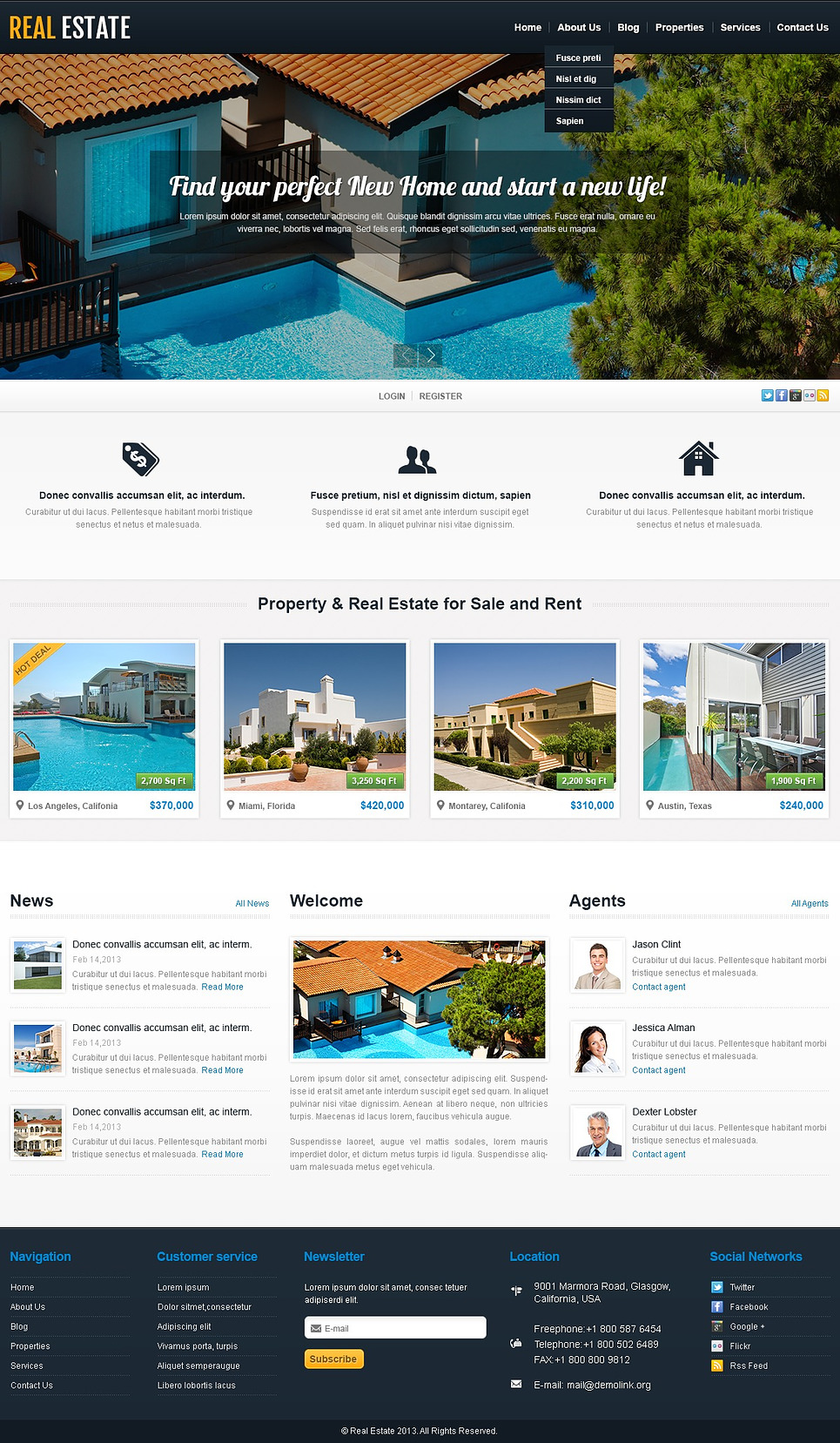 White Real Estate WordPress Theme (WordPress theme for realtors and real estate agents) Item Picture